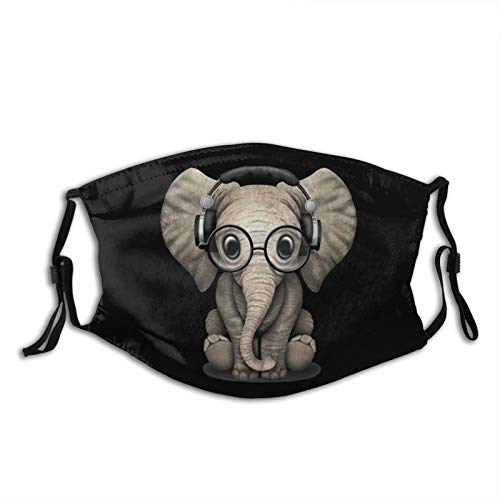 Elephant Glasses Black Cloth Face Mask With Filter Pocket Washable Face Bandanas Balaclava Breathable Print Reusable Fabric Mask With 2 Pcs Filters