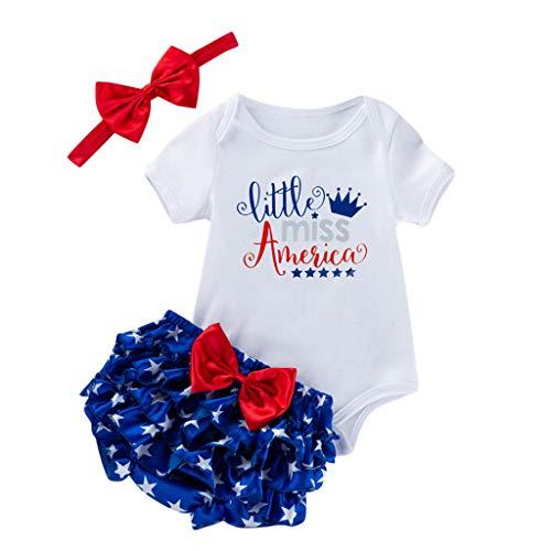 LEXUPE Neugeborenes Baby Mädchen 4. Juli Stars Patriotische Strampler Shorts Stirnband Outfits(White,Small)