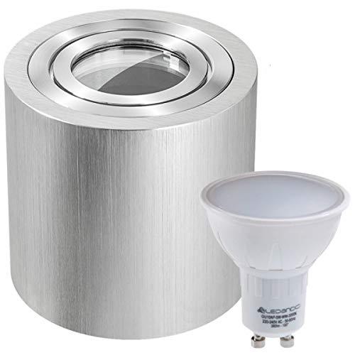 LEDANDO IP44 LED Aufbaustrahler Set Bicolor (chrom/gebürstet) – 5W LED GU10 Leuchtmittel - Feuchtraum/Badezimmer - LED Spot 5 Watt - Aufbauleuchte