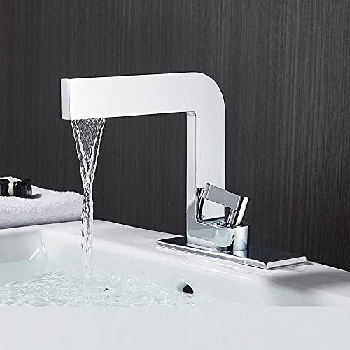 IOMLOP Grifo de la cocina Grifo de lavabo de cascada negro mate, grifo mezclador de agua para lavabo de baño, grifo de grúa para lavabo de agua fría y caliente, grifo para baño, negro, blanco, cromo