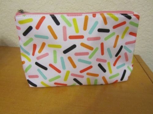 New Clinique Multicolor Cosmetic Makeup Bag with top zipper