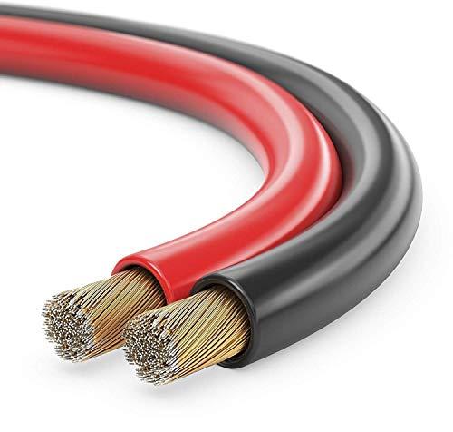 conecto, Cavo per altoparlanti CCA, 2x1,50mm², colore: rosso/nero, 500 metri