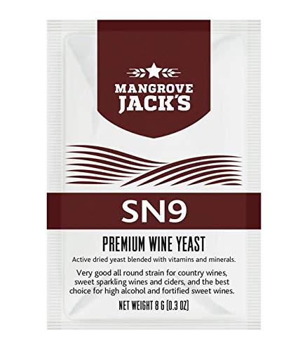 Levadura para vino - Mangrove Jack's SN9 | 8g/25L - Adecuado para Vino Tinto - Vino Blanco - Vino Rosado - Vino Generoso - Vinos con Alto Contenido de Alkohol