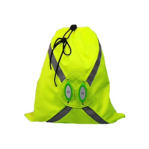 Mochila reflectante de alta visibilidad, ajustable para correr, motociclismo, ciclismo, ciclismo, mochila con cordón, seguridad reflectante para bicicleta, para niños y adultos amarillo L