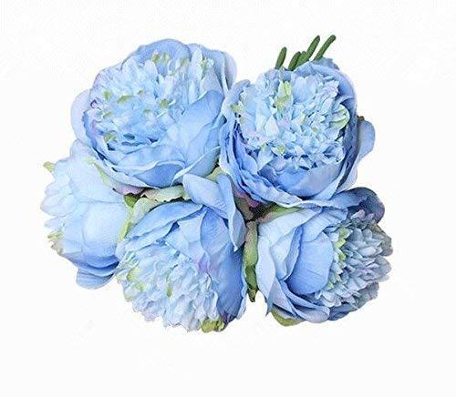 Mingzuo Künstliche Blumen, 5 Blumen, elegant und exquisit, künstliche Pfingstrose, Seide, Brautstrauß Hortensien, Hochzeitsdekoration, 1 Pcs Blue, 5 flowers