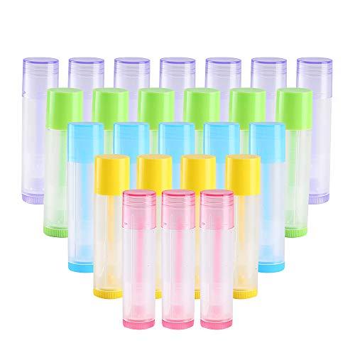 Tubo Bálsamo Labio KINDPMA 50 Piezas 5.5 ml Bálsamo Labial Tubos Portátil con Tapas Envase de Contenedores para Crayon Lipstick Bálsamo Labial Casero 3/16 Oz 5 Colores