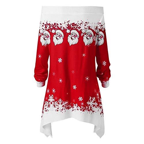 ZEELIY Noël Sweatshirt Femme, Sweat Imprimé Renne Motif Père Noël Manches Longues Noël Pull Chaude Rétro Années 70 Blouse Chemisier Ample - Noël Cadeaux CD_Rouge M
