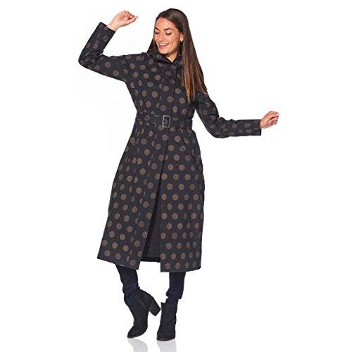 HappyRainyDays–de la Mujer Gabardina Larga, Longitud Completa, con Capucha y Interior Falda para seco Patas
