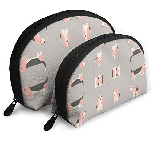 JUKIL Basset Hound Candy Geschenkverpackung Phirefly Women? Travels Travel Cosmetic Bags wasserdichte 2PC Makeup Clutch Pouch Kosmetik- und Körperpflege-Organizer-Tasche Tragbare Travel Toiletry Pouc