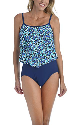 Maxine Of Hollywood Women's Standard 2-Tiered Ruffle One Piece Swimsuit, Navy//Vineyard, 12