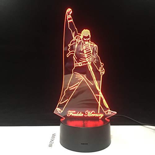 Wfmhra Queen Die Mercury 3D Lámpara LED Luz Nocturna Sensor táctil Bebé Niños Luz Nocturna para Sala de Oficina Lámpara Decorativa