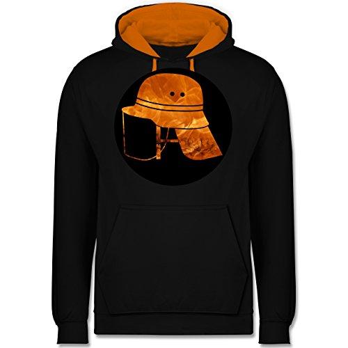 Feuerwehr - Feuerwehr Helm Flammen - XL - Schwarz/Orange - Silhouette - JH003 - Hoodie zweifarbig und Kapuzenpullover für Herren und Damen