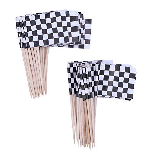 Abaodam Kuchendekoration aus Holz, Motiv: Wettbewerbsflagge, kreativ, schwarz, weiß, 150 Stück