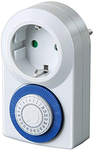 Brennenstuhl Zeitschaltuhr MMZ 20, mechanische Timer-Steckdose (Tages-Zeitschaltuhr, mit erhöhtem Berührungsschutz) weiß