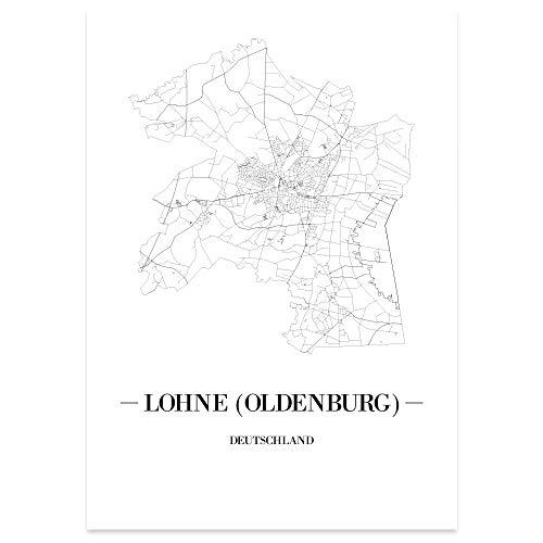 JUNIWORDS Stadtposter - Wähle Deine Stadt - Lohne (Oldenburg) - 60 x 90 cm Poster - Schrift A - Weiß