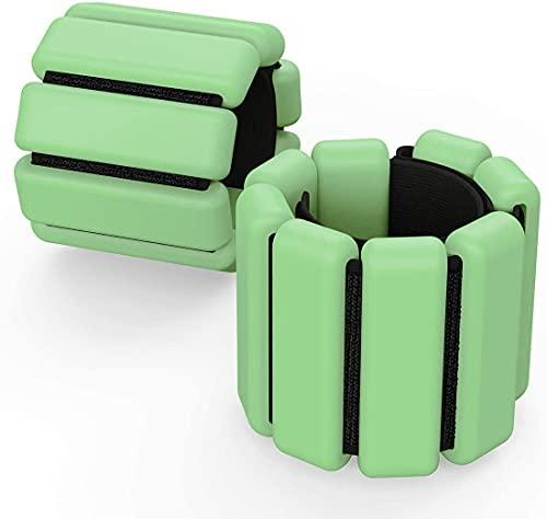 Fypxd Juego de pesas de muñeca ajustables para tobillo y muñeca, anillo de peso, pulsera de fitness (dos verdes, 1 lb (se venden como un par))