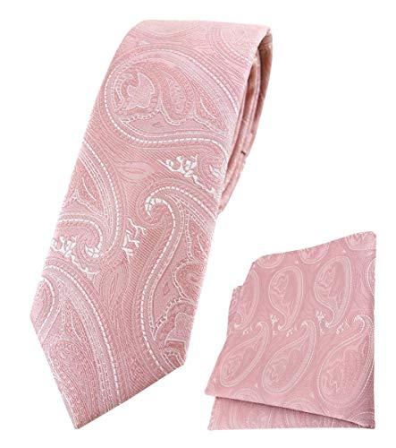 TigerTie schmale Designer Krawatte Designer Einstecktuch in rosa altrosa silber Paisley gemustert - Krawattenbreite 6 cm