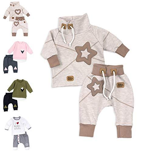 Baby Sweets Koala Baby Set Hose und Shirt Unisex beige braun Motiv: Star Baby Outfit mit Sternen-Applikationen, 68, Star (Braun Beige)