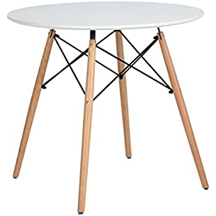 Customer reviews Coavas Kitchen Dining Table Round Coffee Table White Modern Leisure Wooden Tea Table Office Conference Pedestal Table, Cream White:Greatestmixtapes