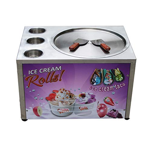 Kolice Countertop design Free shipment 45cm (18 inches) single round ice pan machine with 3 tanks fried ice cream machine instant fry ice cream roll machine with refrigerant, AUTO DEFROST and PCB of smart AI temp. controller