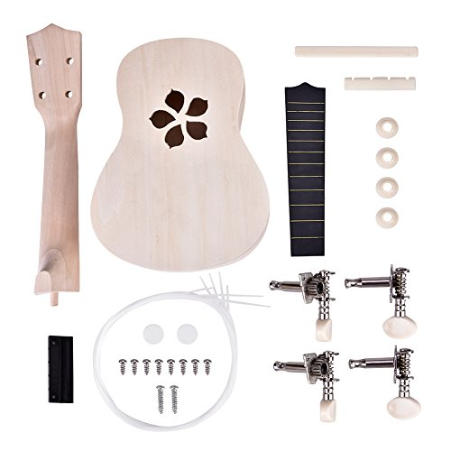 Cocoarm 21 Zoll Sopran Ukelele Bausatz DIY Kit Ukulele Hawaii Sopran Ukulele Bausatz Machen DIY Kit 4 Strings für Kinder Anfänger (Blütenblatt)