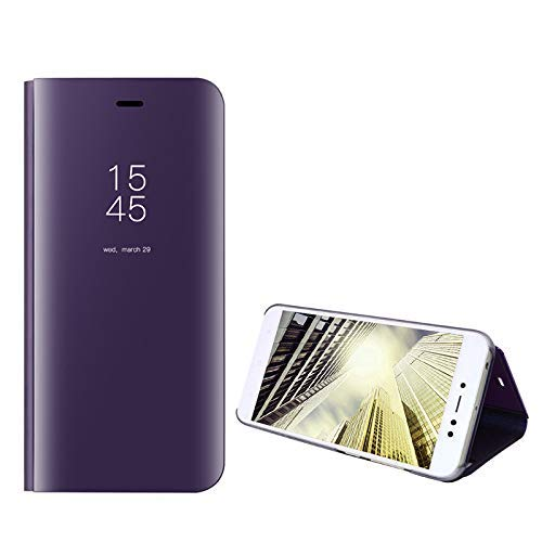 Amocase Smart Clear View Case with 2 in 1 Stylus for Samsung Galaxy A11,Ultra Slim Electroplate Plating Stand Mirror Full Body Shockproof PC + Magnetic PU Leather Flip Case - Purple