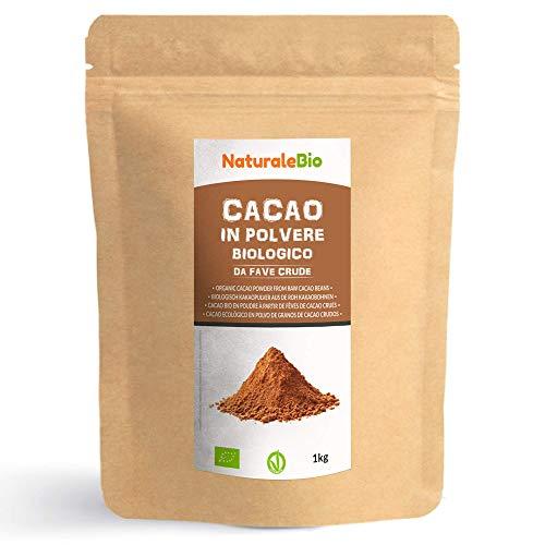 Kakao Pulver Bio 1 Kg. Organic Cacao Powder. 100% Natürlich, Rein aus de Roh Kakaobohnen. Produziert in Peru aus der Theobroma Cocoa Pflanze. Magnesium- und Phosphor-Quelle. NaturaleBio