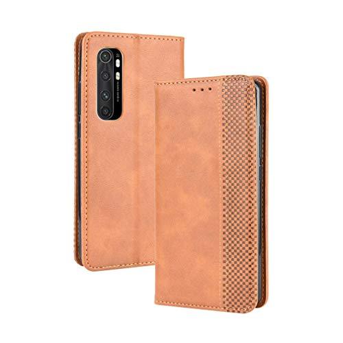 HAOYE Hülle für Xiaomi Mi Note 10 Lite, Retro Premium PU Leder Flip Schutzhülle, Leder Klapphülle Slim Lederhülle mit Standfunktion und Kartenfach TPU Innenraum Hülle Handyhülle, Brown