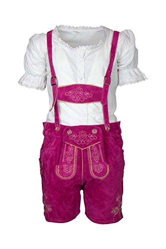 MS-Trachten Kinder Mädchen Trachten Lederhose Antonia kurz (104 (6), pink)