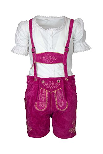 MS-Trachten Kinder Mädchen Trachten Lederhose Antonia kurz (152 (14), pink)