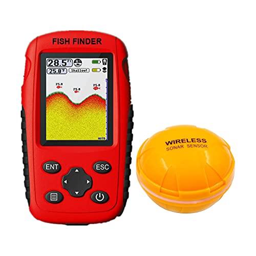 SM SunniMix Buscador de Profundidad inalámbrico, transductor de Sensor de sonda de Pesca con Antena de Mayor Alcance, Alarma de sonda con Pantalla LCD