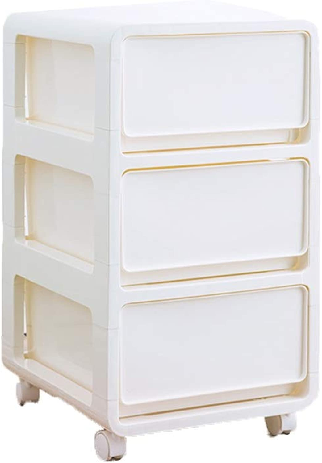 ZHAOYONGLI Side Table Desk End Bedside Snack Coffee Drawer Type Plastic Crack Storage Cabinets Wheel Storage Box (color   White, Size   41.5  35  61cm)