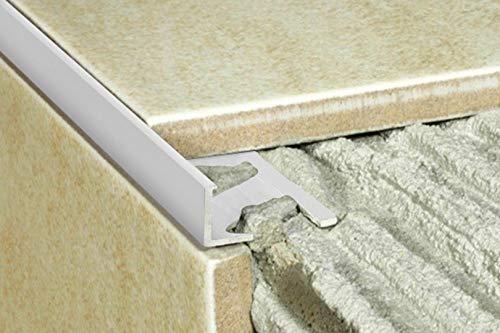 1 Stück | Rand Fliesenleiste | Alu | rostfrei | Effector | 2000x20x10mm | A51 | silber