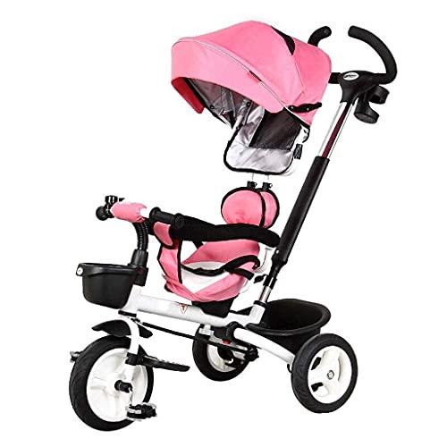 NUBAO Carrito de bebé triciclo triciclo triciclo triciclo para bebé, silla de paseo de bebé plegable de 1 a 6 años de edad, color azul, (color: rosa) triciclos para niños de 1 a 3 años