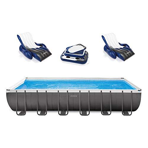 Hot Sale Intex Rectangular Ultra Frame Pool Set, 24-Feet by 12-Feet by 52-Inch
