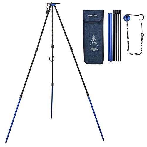 Aniceday - Soporte de 3 patas de aluminio ligero y ajustable, ideal para acampar de supervivencia
