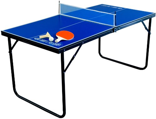 Park & Sun Sports Indoor/Outdoor Mini Table Tennis Table with 2 Rackets/Paddles and Balls, Blue, 60 x 30 x 3/8 in