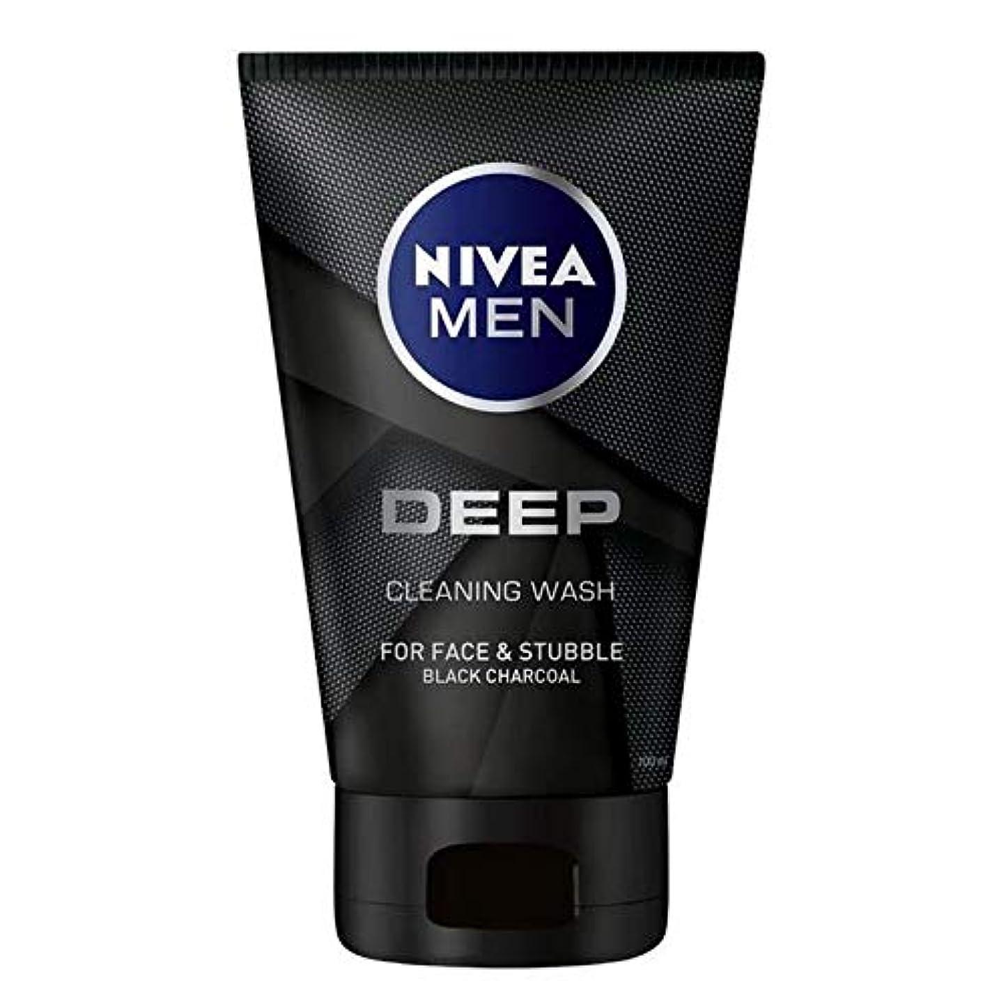 大破レンダー侵入[Nivea ] ニベア男性深い木炭フェイスウォッシュ100ミリリットル - NIVEA MEN Deep Charcoal Face Wash 100ml [並行輸入品]