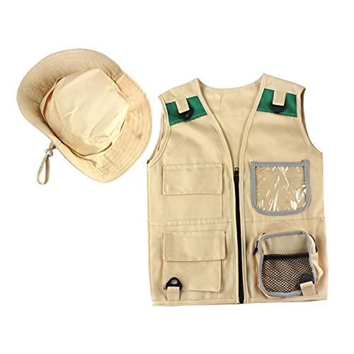 Nobranded Aventure en plein air Kit pour les Jeunes Enfants, cargo Gilet et Chapeau Ensemble Cour Explorer Safari Costume et Robe Up pour Parc Ranger,
