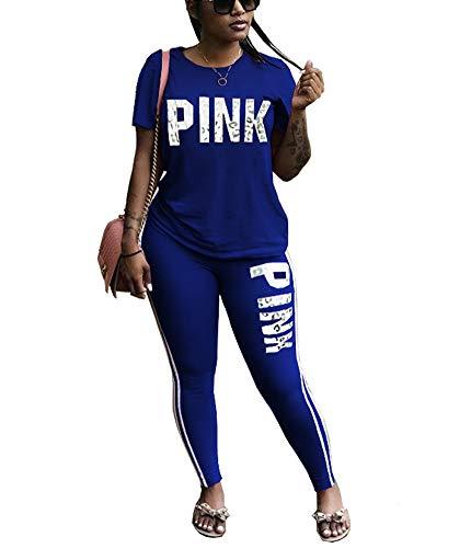 THLAI Women Letter Print 2 Piece Outfits Short Sleeve T Shirt Top and Stripe Patchwork Sweatpants Tracksuits Plus Size Jogging Suit Sets