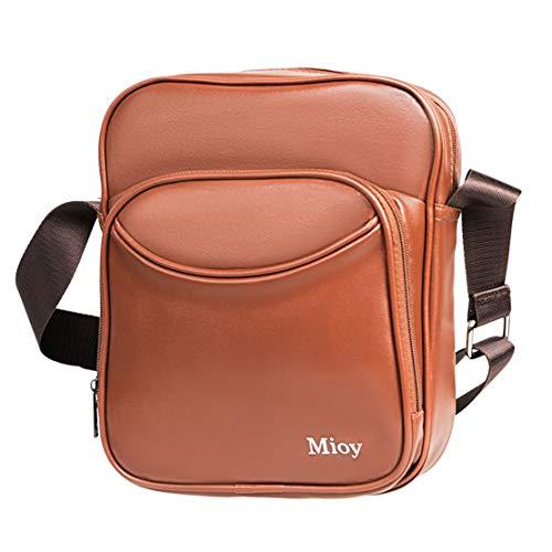 Mioy Casual Leather Handbag for Men Mini Crossbody Bag Light Shoulder Bag Messenger Bag (BLACK) (Brown)