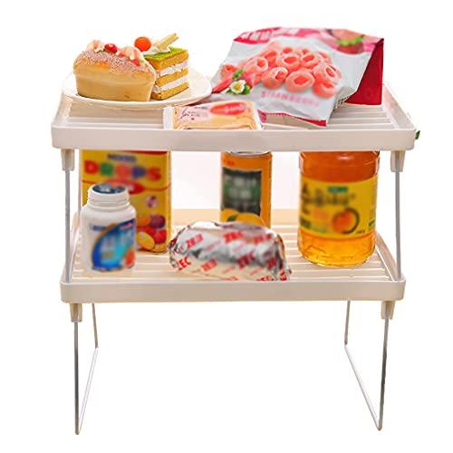Estante de almacenamiento de baño de 2 unidades, duradero, organizador y almacenamiento de cocina, plegable y apilable, para armario, escritorio, sala de estar, dormitorio