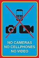 カメラなし、携帯電話なし、ビデオなし メタルポスタレトロなポスタ安全標識壁パネル ティンサイン注意看板壁掛けプレート警告サイン絵図ショップ食料品ショッピングモールパーキングバークラブカフェレストラントイレ公共の場ギフト