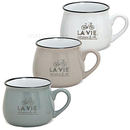 matches21 Becher Tassen Kaffeetassen Kaffeebecher Retro Motiv Keramik taupe weiß blau-grau 3er Set 7,5 cm / 250 ml