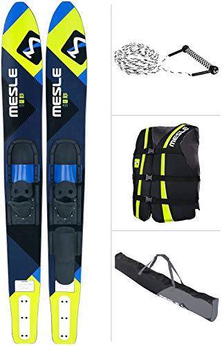 MESLE Combo-Ski Package XPlore 157 cm mit Weste Sportsman + Leine Combo + Tasche Universal, Wasserski für Jugendliche und Erwachsene, blau-Lime