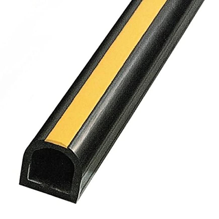 貢献欠点薄汚いD型ゴム/かまぼこ型カーストッパー ターミナルラバー 10cm×10cm×2M 穴あき金具付き 黄ライン入り TR10Y-20 日本製