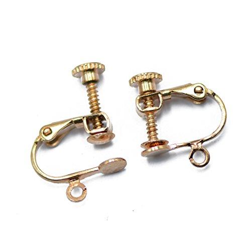 F Fityle 12x Clip de Metal de Oro Rosa en Los Fornituras del Pendiente Trasero con Tornillo con Lazo Abierto Y Bola