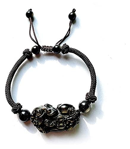 PRTOYO Feng Shui Pulsera Natural Oro obsidiana pixiu Colgante Collar Riqueza Afortunado ruyi Souvenir Apto para Hombres Mujeres, Pulsera (Color : Bracelet)