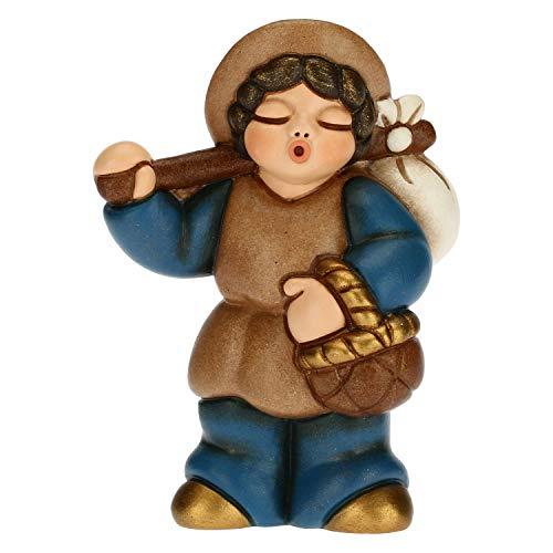 THUN - Statuina Presepe Uomo con Fagotto - Decorazioni Natale Casa - Linea Presepe Classico, Variante Blu - Ceramica - 6 x 3,8 x 8 h cm