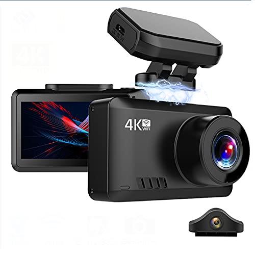 4K Dash Camera Car DVR Video Recorder Ultra HD GPS Track Wifi Night Vision Dashcam Compatible Con Cámara Trasera 1080P, Compatible Con Visión Nocturna, Wifi, Detección De Gestos,32g